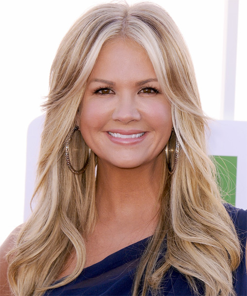 Nancy O Dell Long Straight Casual Hairstyle with Layered Bangs - Medium Blonde (Caramel) Hair Color