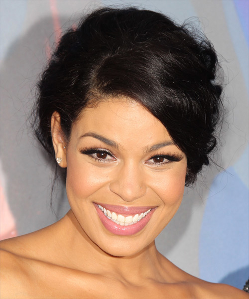 Jordin Sparks Curly Formal Updo Hairstyle with Side Swept Bangs - Black Hair Color