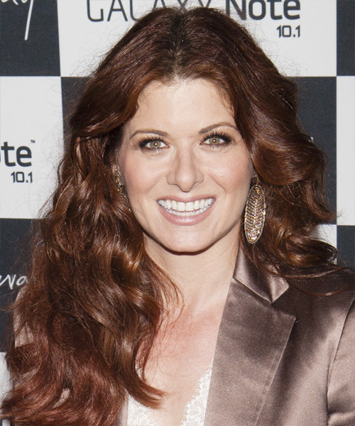 Debra Messing Long Wavy Casual Hairstyle - Medium Brunette (Chestnut) Hair Color