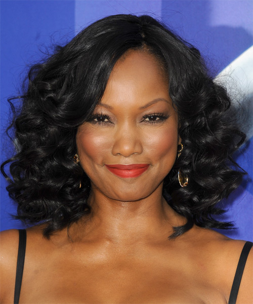Garcelle Beauvais-Nilon Medium Curly Formal Bob Hairstyle - Black Hair Color