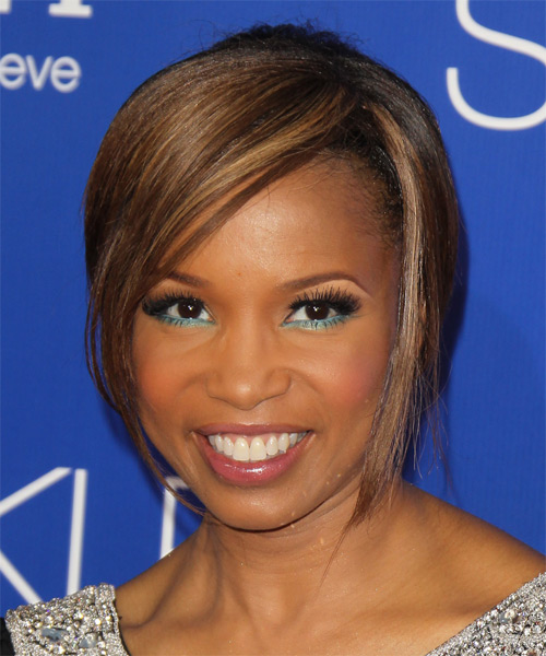 Elise Neal Short Straight Formal Hairstyle with Side Swept Bangs - Dark Brunette (Chocolate) Hair Color