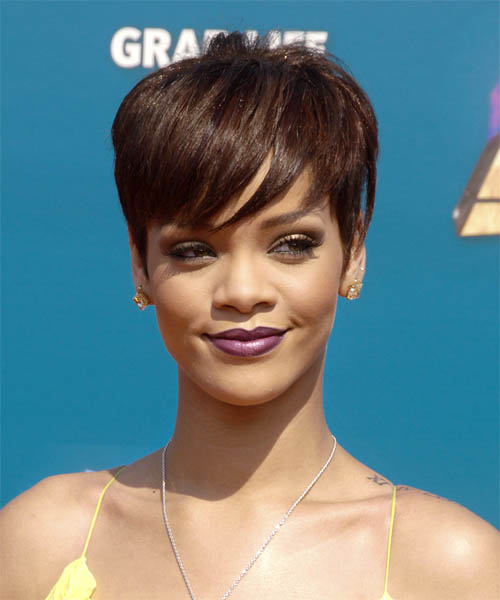 Rihanna Short Straight Casual Hairstyle with Side Swept Bangs - Medium Brunette (Chocolate) Hair Color