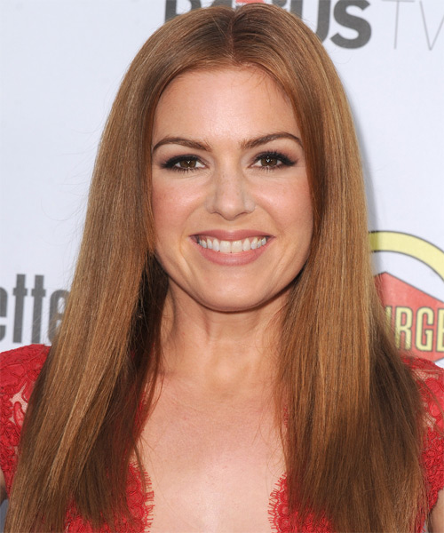 Isla Fisher Long Straight Casual Hairstyle - Medium Brunette (Copper) Hair Color