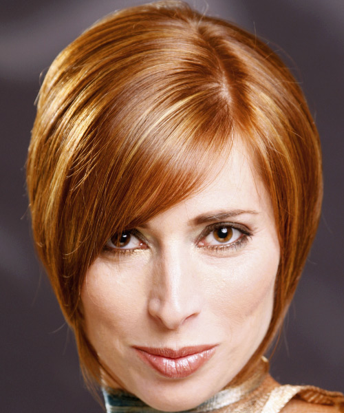 Short Straight Formal Hairstyle with Side Swept Bangs (Ginger)