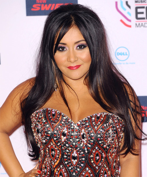 Snooki Long Straight Casual Hairstyle with Side Swept Bangs - Black Hair Color