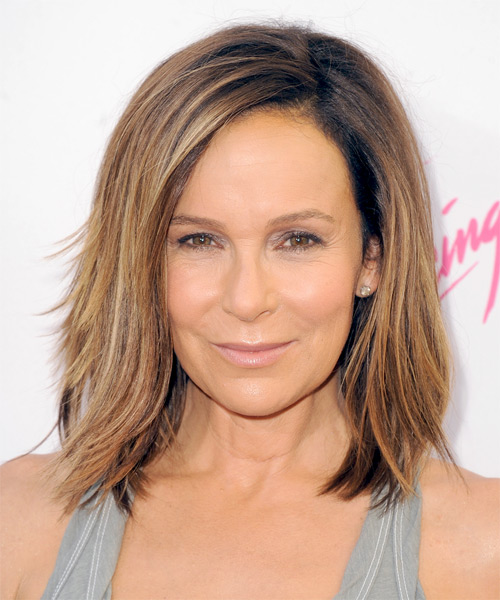 Jennifer Grey Medium Straight Casual Bob Hairstyle - Medium Brunette (Copper) Hair Color