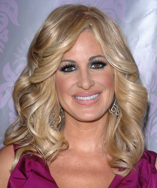 Kim Zolciak Long Wavy Hairstyle - Medium Blonde (Golden)