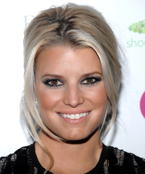 Jessica Simpson Straight Casual Updo Hairstyle - Medium Blonde (Champagne) Hair Color