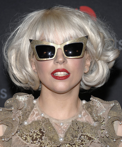 Lady Gaga Medium Wavy Bob Hairstyle - Light Blonde (Platinum)