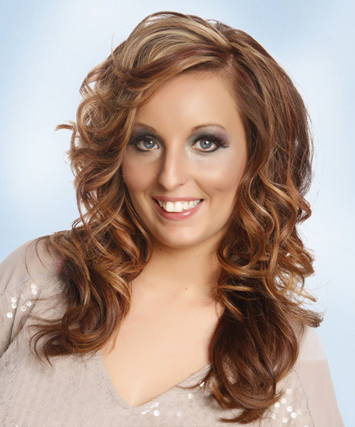 Long Wavy Casual Hairstyle with Side Swept Bangs - Medium Brunette (Copper) Hair Color