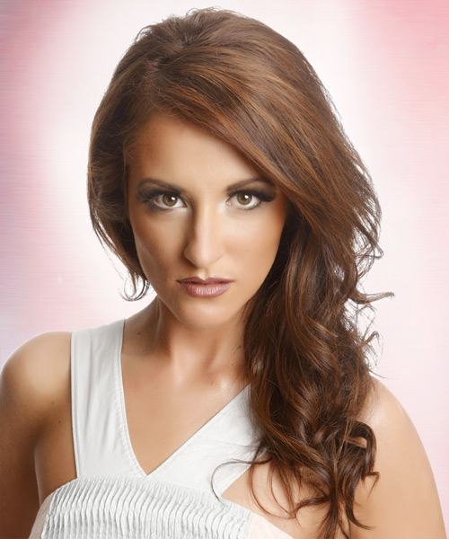 Long Wavy Casual Hairstyle - Medium Brunette (Auburn) Hair Color