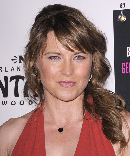 Lucy Lawless Curly Casual Half Up Hairstyle with Side Swept Bangs - Light Brunette Hair Color
