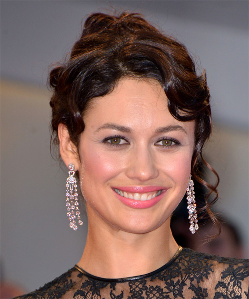 Olga Kurylenko Updo Long Curly Formal Wedding - Dark Brunette