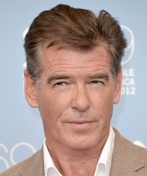 Pierce Brosnan Short Straight Hairstyle - Light Brunette (Grey)