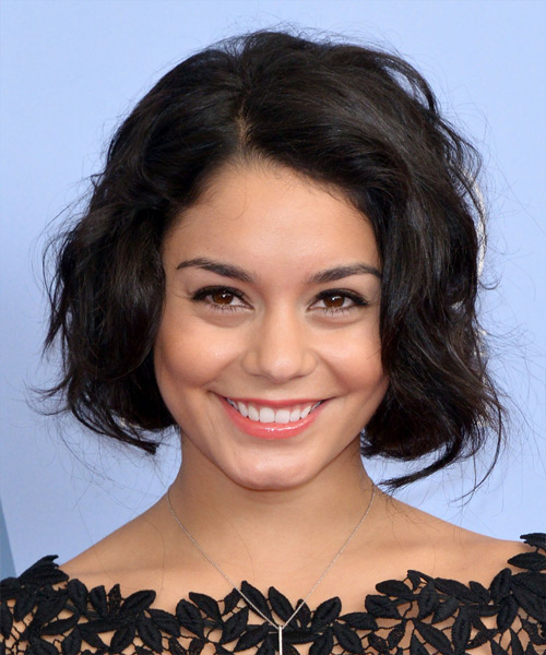 Vanessa Hudgens Short Wavy Casual Bob Hairstyle - Dark Brunette Hair Color