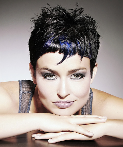 Short Straight Alternative Hairstyle with Razor Cut Bangs - Black (Ash) Hair Color