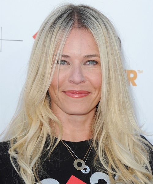 Chelsea Handler Long Straight Casual Hairstyle - Light Blonde Hair Color