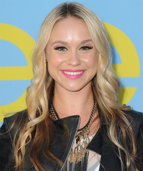 Becca Tobin Long Wavy Casual Hairstyle - Light Blonde Hair Color