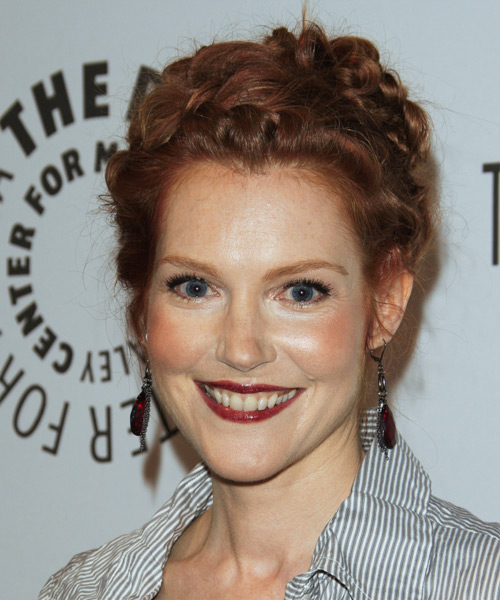 Darby Stanchfield Casual Curly Updo Braided Hairstyle - Medium Red