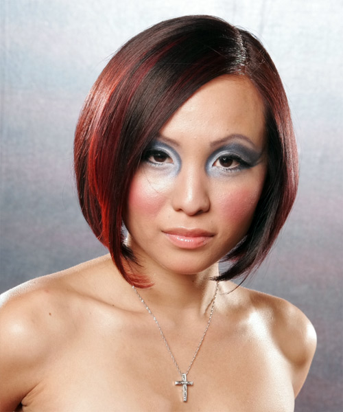 Medium Straight Alternative Bob Hairstyle - Dark Red