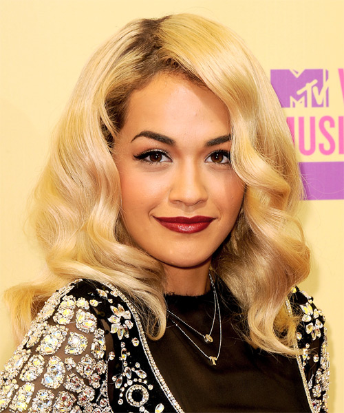 Rita Ora Long Wavy Hairstyle - Medium Blonde (Golden)