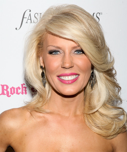 Gretchen Rossi Long Straight Formal Hairstyle - Light Blonde (Champagne) Hair Color