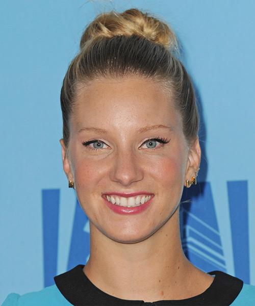 Heather Morris Casual Curly Updo Hairstyle - Dark Blonde