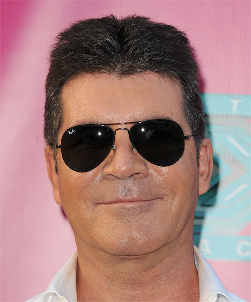 Simon Cowell Short Straight Hairstyle - Dark Grey