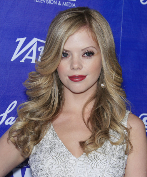 Dreama Walker Long Wavy Hairstyle - Medium Blonde (Ash)