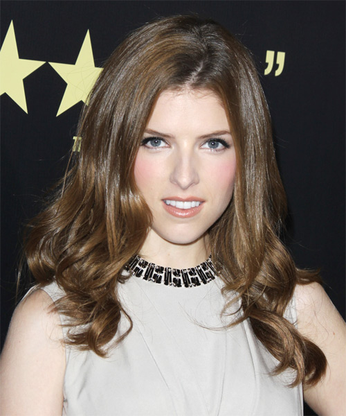Anna Kendrick Long Straight Casual Hairstyle - Medium Brunette (Ash) Hair Color