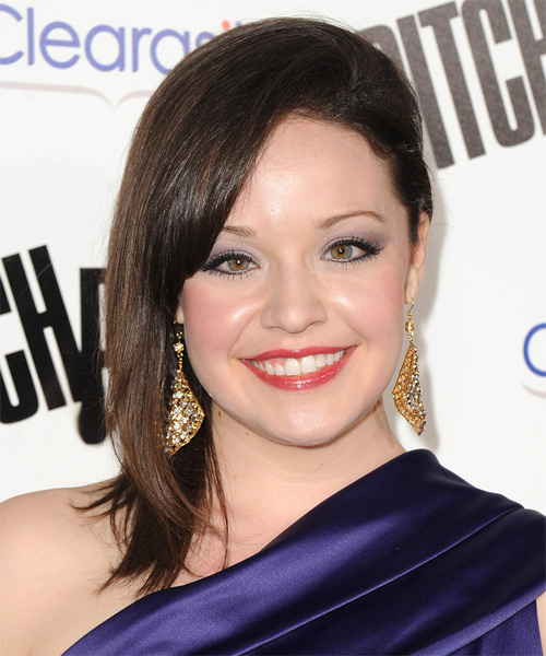 Shelley Regner Medium Straight Formal Hairstyle - Dark Brunette Hair Color