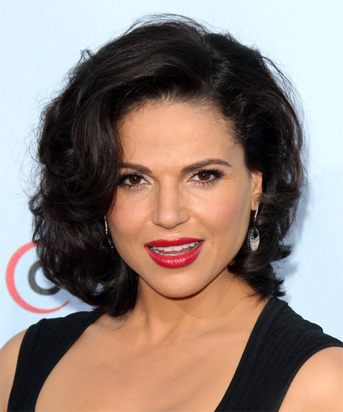 Lana Parrilla Medium Wavy Formal  - Dark Brunette