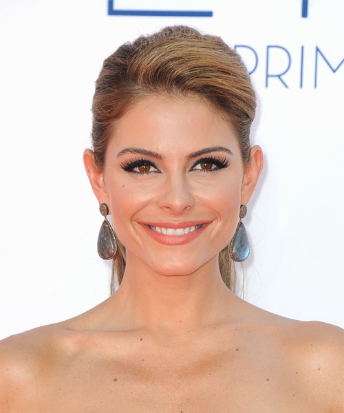 Maria Menounos Formal Straight Updo Hairstyle - Medium Brunette (Caramel)