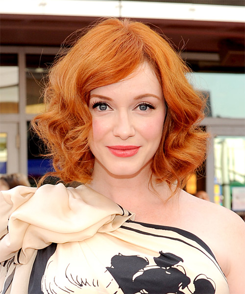 Christina Hendricks Medium Wavy Bob Hairstyle - Orange (Ginger)