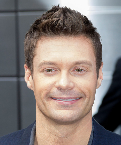 Ryan Seacrest Short Straight Casual Hairstyle - Medium Brunette Hair Color