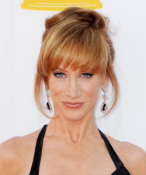 Kathy Griffin Straight Formal Updo Hairstyle with Blunt Cut Bangs - Dark Blonde (Copper) Hair Color
