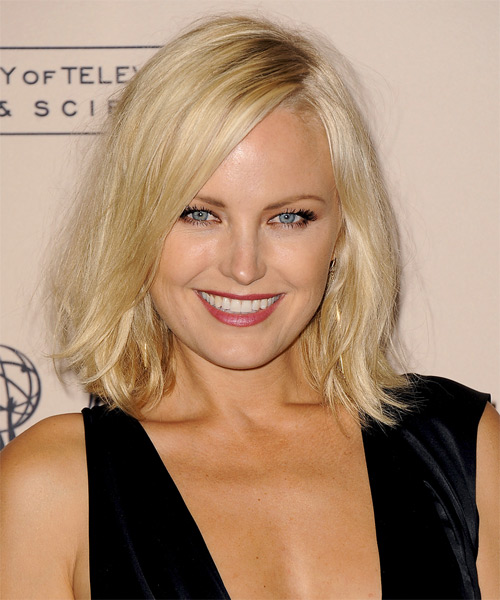 Malin Akerman Medium Straight Bob Hairstyle - Light Blonde (Golden)