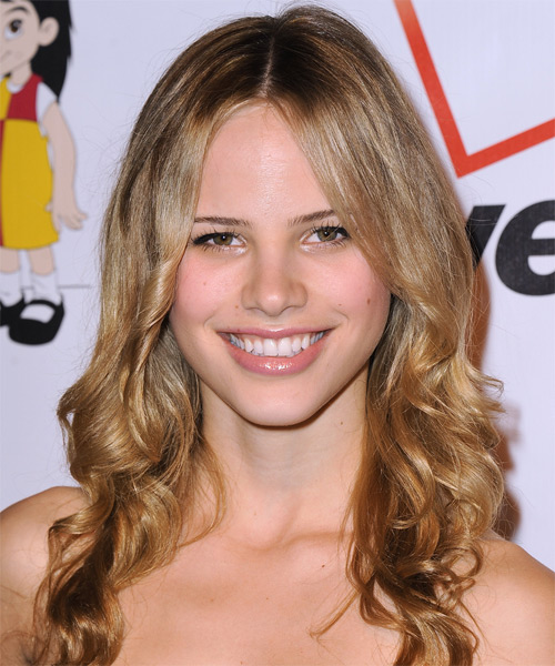 Halston Sage Long Wavy Casual Hairstyle (Golden)