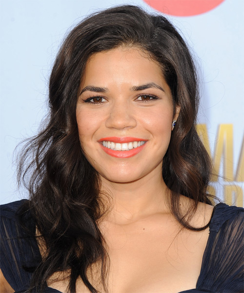 America Ferrera Long Wavy Casual Hairstyle - Dark Brunette Hair Color