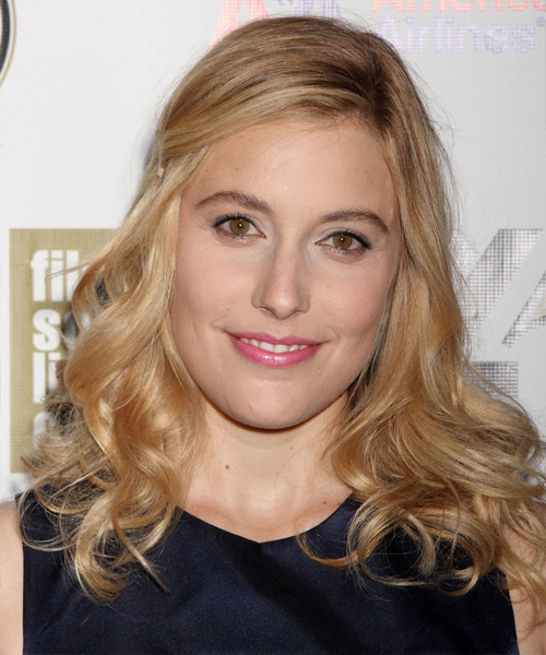 Greta Gerwig Long Wavy Casual Hairstyle - Medium Blonde (Golden) Hair Color