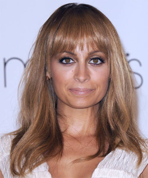 Nicole Richie Long Straight Casual  with Layered Bangs - Medium Red (Copper)