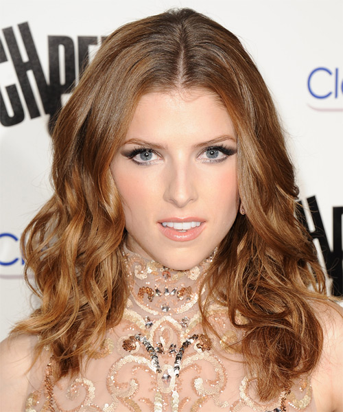 Anna Kendrick Medium Wavy Hairstyle - Light Brunette (Auburn)