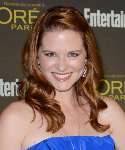 Sarah Drew Long Straight Hairstyle - Dark Red (Auburn)