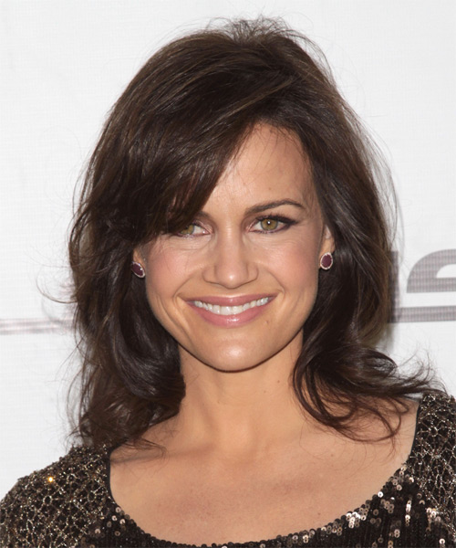 Carla Gugino Medium Straight Casual Hairstyle with Layered Bangs - Medium Brunette (Chocolate) Hair Color