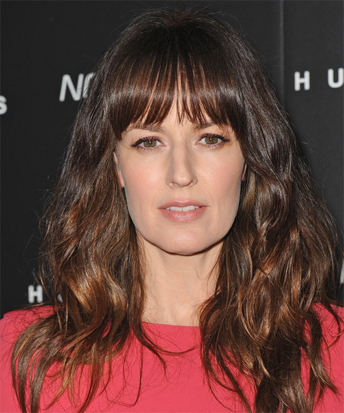 Rosemarie DeWitt Long Wavy Casual Hairstyle with Blunt Cut Bangs - Medium Brunette (Chocolate) Hair Color