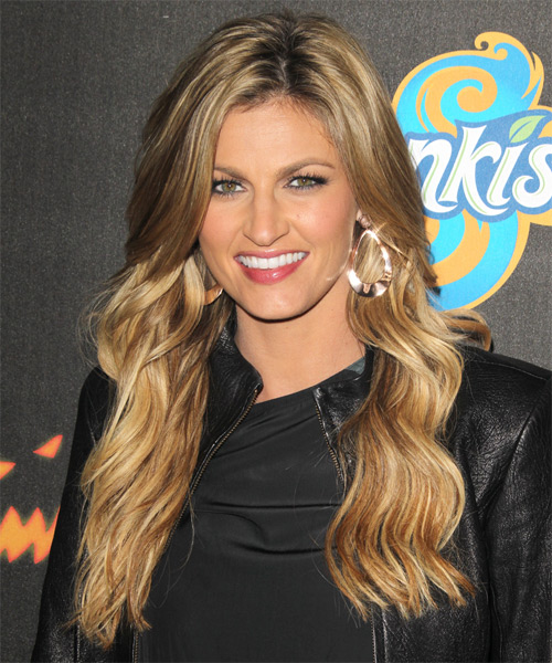 Erin Matthews Long Wavy Casual Hairstyle - Dark Blonde (Golden) Hair Color