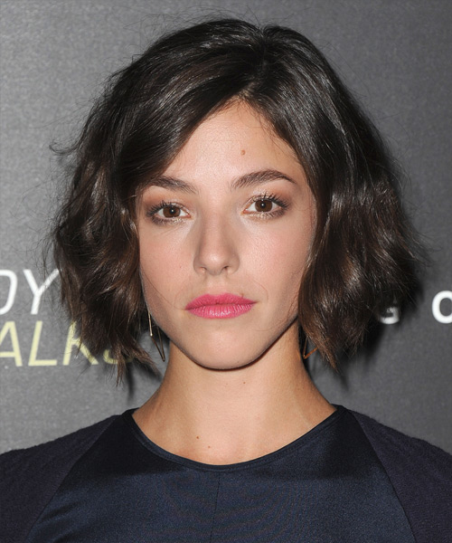 Olivia Thirlby Short Wavy Casual Bob Hairstyle - Dark Brunette Hair Color