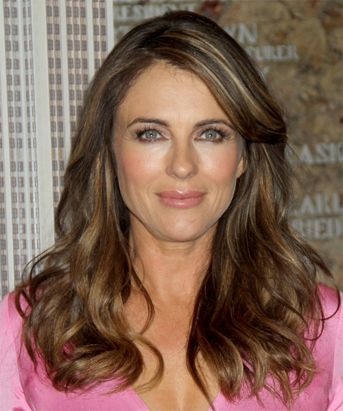 Elizabeth Hurley Long Straight Casual  with Side Swept Bangs - Medium Brunette (Golden)