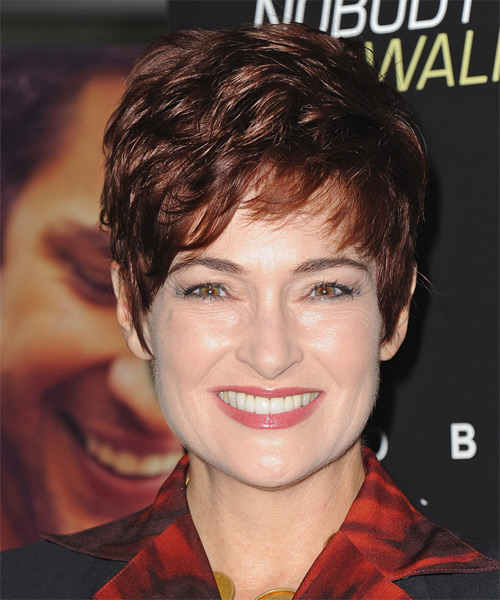 Carolyn Hennesy Short Straight Formal Hairstyle with Layered Bangs - Medium Red (Burgundy) Hair Color