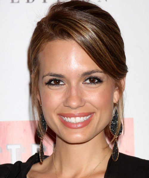 Torrey DeVitto Straight Casual Updo Hairstyle with Side Swept Bangs - Medium Brunette (Chestnut) Hair Color